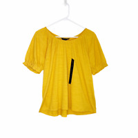 Banana Republic Women's Peasant Shirt Short Sleeve Top Blouse Yellow Small NWT