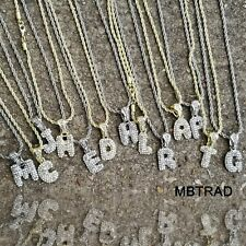 """A - Z Initial Bubble Letters Silver Plated Iced Pendant 24"""" Rope Chain Necklace"""