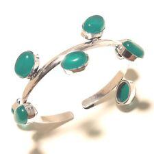 Green Onyx Bracelet cuff Gemstone Handmade Silver Plated Jewellery