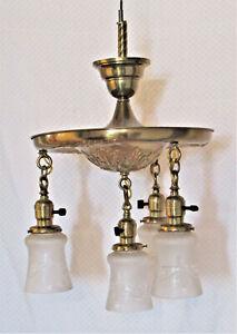 4-Light Art Nouveau BRASS CHANDELIER w/ Frosted  Cut Glass Shades RibbonTassels