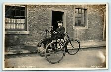 More details for postcard thomas clitheroe disabled man in hand powered tricycle - social history