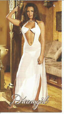 WHITE BLACK LONG SHEER GOWN BANDEAU BIKINI BRA AND KNICKERS CUT OUT S M L