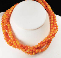 """Multi-Strands Orange Natural Sea Coral with Silver Statement Necklace 18""""*"""
