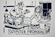 Original Comic Strip Art Bolinger COUNTER PROPOSAL Marriage WordPlay GAG PANEL