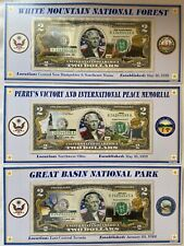 Lot Of 3 - Atb Enhanced $2 Bill Collection - White Mountain Great Basin Perry's