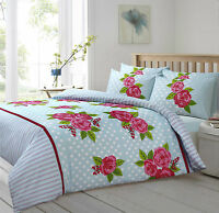 Rose Polka Floral Duvet Quilt Set with Pillowcases Single Double King Blue Beige