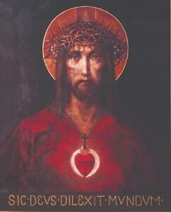 """Catholic print picture -  SACRED HEART OF JESUS 1 -  8"""" x 10"""" ready to be framed"""