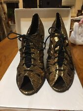 Dazzling Open Tie Gold Lace Up Party Shoes Size 7 Great For The Season