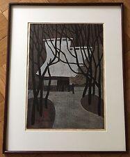 "KIYOSHI SAITO ORIGINAL WOODBLOCK PRINT ""WINTER IN SAGA KYOTO"", 1968 with FRAME"