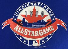 Vintage Mens L 1988 Cincinnati Red Baseball All-Star Game Graphic Blue T-Shirt