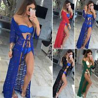 ^^#Women Boho Bikini Swimwear Cover Up Crochet Beach Dress Summer Dress Kaftan