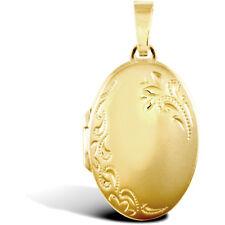 Jewelco London 9Ct Floral Oro Grabado Ovalado 4 Foto Familia Medallón Colgante