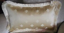 PAIR NEW SILKY Beige Pale Gold Embroidered FLEUR DE LYS Cushion covers & fringes