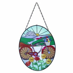 Stained Glass Sun Catcher with Retro Bicycle - Decorative Hanging Window