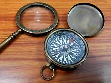 Antique Nautical Brass Magnifying Glass With Lid Pocket Compass Collectible Gif