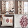 Red Skandi Leaf Autumn Leaf Nature Print Lined Eyelet Top Ring Top Curtains Pair