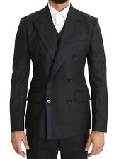 NEW $2800 DOLCE & GABBANA Suit Gray Wool Blue Silk Double Breasted EU52/ US42/XL
