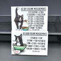 Tuxedo Cat Measuring Chart Magnet Set Handmade Kitchen Cooking and Baking Guide