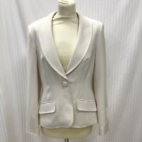 Next Size 12R Ladies Cream Straight Leg Trousers Fitted Blazer Suit Womens