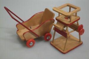 BODO HENNIG: Hochstuhl & Kinderwagen für die Puppenstube / Puppenhaus