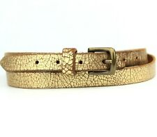 Gold Slim Skinny Real Leather Belt Size XS /S