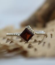 Natural Red Garnet- 925 Sterling Silver Handmade Gemstone Jewelry Promise Ring