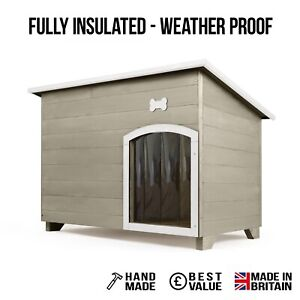 Outdoor Dog Kennel / House Winter Weather Proof Insulated XL Natural Stone +Bone