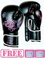 ISLERO Ladies Boxing Gloves GEL Fight MMA Punch Bag Leather Sparring Mauy Thai
