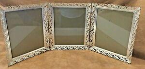 VTG MCM Silver Ornate Filigree Tri-Fold Photo Frame 8 x 10 Hinged Rare