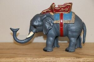 Vintage Royal Elephant cast iron Book of Knowledge mechanical bank