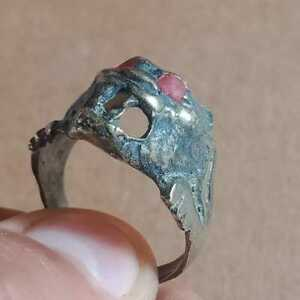 ANCIENT ROMAN BRONZE DECORATED ANIMAL FACE RING EUROPEAN FINDS