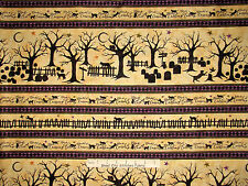 Halloween Fabric - Fence Tree Pumpkin Stripe Black Cat Crossing Maywood - Yard