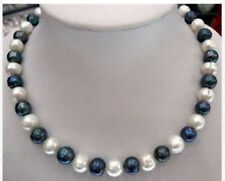 """8-9mm Natural Black & White Akoya Cultured Pearl Fashion Jewelry Necklaces 18"""""""