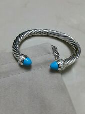 David Yurman Sterling Silver 7mm Cable Bracelet With Turquoise and Diamonds