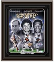Raiders MVPs Biletnikoff Allen Plunkett Signed Framed 16x20 PSA/DNA COA Vegas