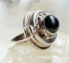 Silberring 58 59 60 Onyx Schwarz Dose Giftring Handarbeit Silber Ring Verspielt