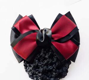 ERA Rhianna  Hair Bow Barrette Bun Snood - Red & Black Satin