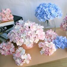 Vivid Big Flowers Wedding Hydrangea Flower Heads Silk Artificial Backdrops 2 Pcs