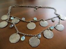 Vintage Artisan Sterling Chains Old Coins /Labradorite/Chalcedony beads necklace
