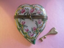 New ListingLimoges France Peint Main Valentine Heart W/Key Hinged Trinket Box