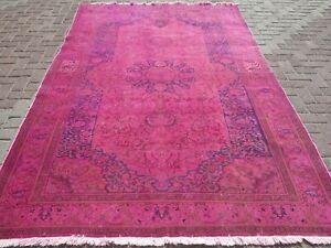 "Vintage Turkish Rug Pink Overdyed Wool Floor Carpet Handmade Rugs 74,4""X113,7"""