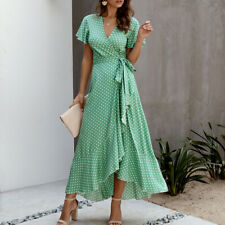 Women's Bohemian Polka Dot Chiffon Wrap V Neck Short Sleeve Split Maxi Dress