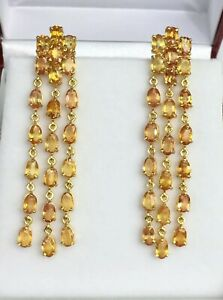 14k Solid Yellow Gold Dangle French Clip Earrings, Natural Orange Sapphire 9Gr