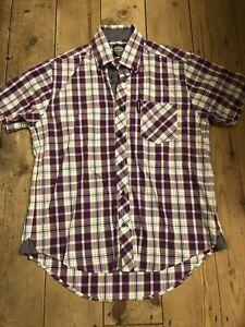 Lambretta Mens Shirt Medium Size Purple Check Carnaby Clothing London Soho