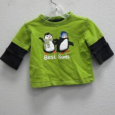 GYMBOREE Boys Avocado Green Black Thermal BEST BUDS PENGUINS LS Shirt Baby 3/6m