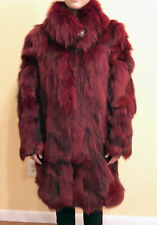 Women's Fur WINTER COAT Genuine Fox LARGE, Burgundy New