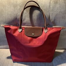 Auth Longchamp Classic Le Pliage RED Nylon Large Tote Leather Strap Handle 7b3bc5fe45968