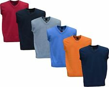 Mens Plain V Neck Sleeveless Sweater Jumper Tank Top Jersey Golf Casual M - XXL