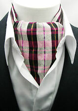 New Modern Day Silk Ascot Cravat Tie Purple Plaid Extra Long