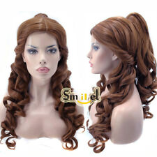Belle Princess Cosplay Wig Costume Synthetic Hair Long Curly Brown Ponytail Wigs